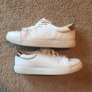 White and rose gold sneakers size 6. EUC worn once